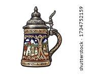 german stein beer mug with... | Shutterstock .eps vector #1734752159