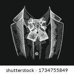 hand drawn sketch of collar and ... | Shutterstock .eps vector #1734755849
