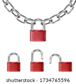 realistic red lock on metal... | Shutterstock .eps vector #1734765596