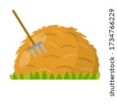 Yellow haystack and hayfork. Cartoon flat illustration. Rustic sheaf. countryside harvest of crop. Organic food and fork. Green grass isolated on white