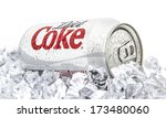 Small photo of SWINDON, UK - JANUARY 27, 2014: Can of Diet Coca-Cola on a bed of ice over a white background