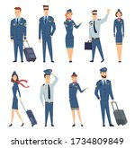 team of smiling civilian... | Shutterstock . vector #1734809849