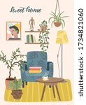 stay at home. cozy room... | Shutterstock .eps vector #1734821060