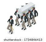 dancing coffin. meme with black ... | Shutterstock .eps vector #1734846413