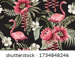 tropical vintage pink flamingo  ... | Shutterstock .eps vector #1734848246