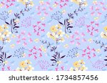 feminine floral vector seamless ...   Shutterstock .eps vector #1734857456