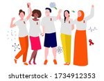 multi ethnic youth campaigning... | Shutterstock .eps vector #1734912353