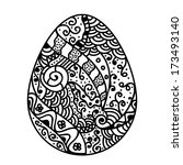 sketch style floral easter egg.  | Shutterstock . vector #173493140