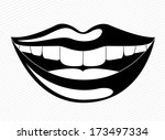 mouth design over lineal... | Shutterstock .eps vector #173497334