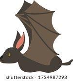 cute cartoon bat  vector... | Shutterstock .eps vector #1734987293