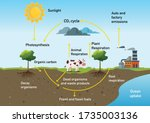 the hydrological cycle process... | Shutterstock .eps vector #1735003136