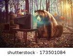 a wild brown bear is watching... | Shutterstock . vector #173501084
