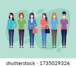 group of women using face mask... | Shutterstock .eps vector #1735029326