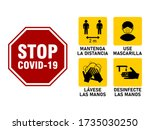 Simple Set of Instruction Icons in Spanish against the Spread of the Coronavirus Covid-19, including Keep Distance 2 Metres, Wear a Face Mask, Wash Your Hands and Sanitize Your Hands. Vector Image.