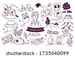 set of adventure doodle vector... | Shutterstock .eps vector #1735040099