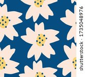 Cute Repeat Tulip Wildflower Pattern with pantone color of the year classic blue background. Seamless floral pattern. white tulip. Stylish repeating texture.