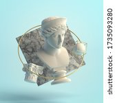 3d-illustration of an abstract composition of sculpture and primitive objects. Bust of Hera