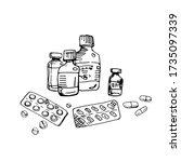 medicine vials  bottles  pill... | Shutterstock .eps vector #1735097339