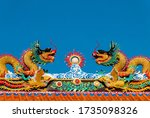 Golden Dragon Statue On Shrine...