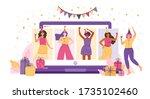 online party  birthday  meeting ... | Shutterstock .eps vector #1735102460