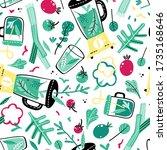 hand drawn doodle vegan... | Shutterstock .eps vector #1735168646