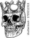 a human skeleton skull wearing... | Shutterstock .eps vector #1735211513