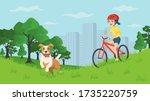 happy smiling girl walking with ... | Shutterstock .eps vector #1735220759
