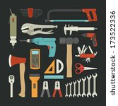 hand tools icon set   flat... | Shutterstock .eps vector #173522336