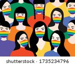 peopl wearing rainbow face mask ...   Shutterstock .eps vector #1735234796
