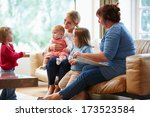 health visitor talking to... | Shutterstock . vector #173523584