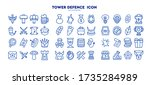line tower defence icon set for ...