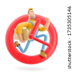 delivery man runs with the... | Shutterstock . vector #1735305146