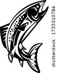 trout fish jumping woodcut... | Shutterstock .eps vector #1735310786