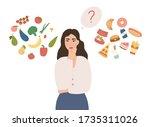 woman choosing between healthy... | Shutterstock .eps vector #1735311026