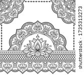 stylized with henna tattoo... | Shutterstock .eps vector #1735313273