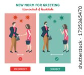 new normal for greeting in... | Shutterstock .eps vector #1735365470