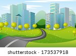 illustration of a narrow road... | Shutterstock . vector #173537918