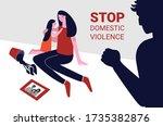 a little girl console her...   Shutterstock .eps vector #1735382876