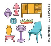 furniture and interior... | Shutterstock .eps vector #1735392866