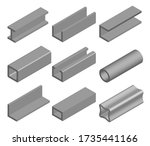 steel pipe  metallic profile... | Shutterstock .eps vector #1735441166