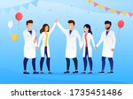a group of doctors celebrate... | Shutterstock .eps vector #1735451486