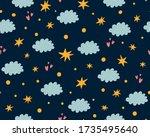 nursery stars pattern. night... | Shutterstock .eps vector #1735495640