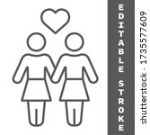 lesbian couple thin line icon ... | Shutterstock .eps vector #1735577609