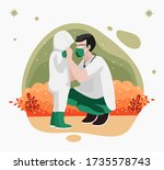 vector illustration of dad and... | Shutterstock .eps vector #1735578743