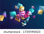 bright multi colored 3d... | Shutterstock .eps vector #1735590023
