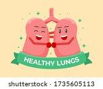 healthy lungs cute cartoon...   Shutterstock .eps vector #1735605113