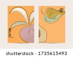 retro flat colored organic food ... | Shutterstock .eps vector #1735615493
