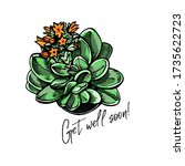 hand drawn colored greeting... | Shutterstock .eps vector #1735622723