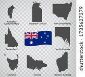 eight maps states of australia  ...   Shutterstock .eps vector #1735627379