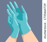 putting surgical gloves on grey ... | Shutterstock .eps vector #1735664729